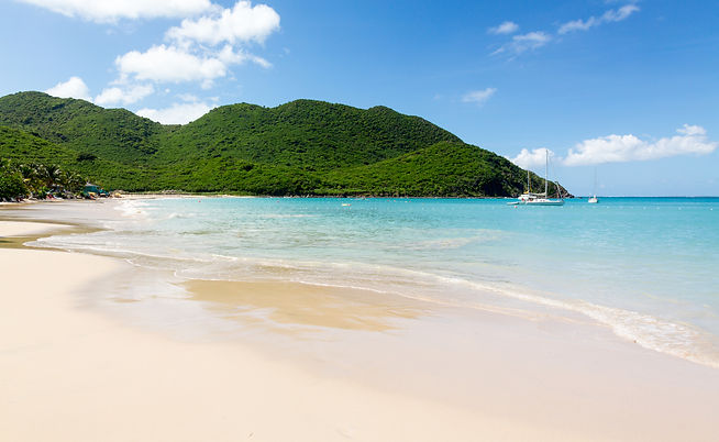 Anse Marcel beach and boats on french si