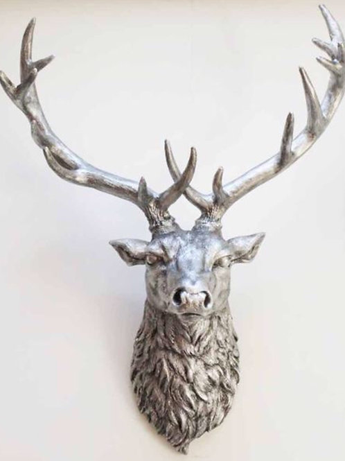 Silver wall mounted stag