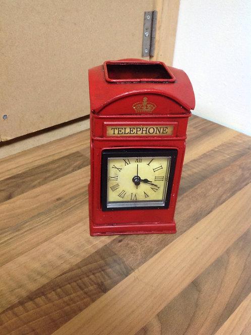 Tin Plate Telephone Box , Clock , Desk Tidy