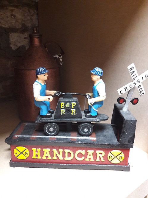 Cast Iron Handcar Money Bank