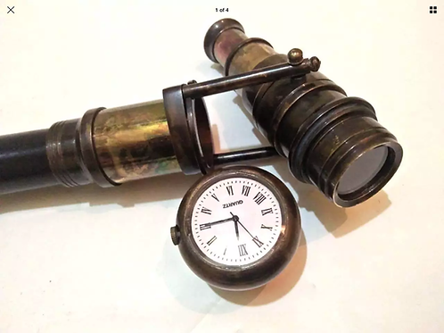 Victorian Wooden Walking Stick with Hidden Telescope Beautiful Clock on Top