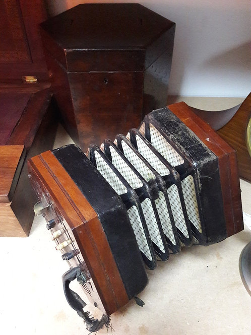 Vintage Accordian and Wooden Box
