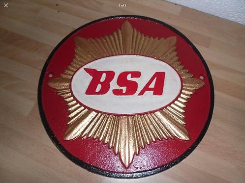 Cast iron red bsa sign