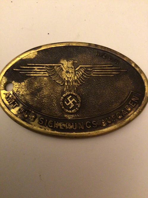 German  SS brass oval ID tag