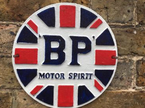 B P Motor Sprint cast iron sign
