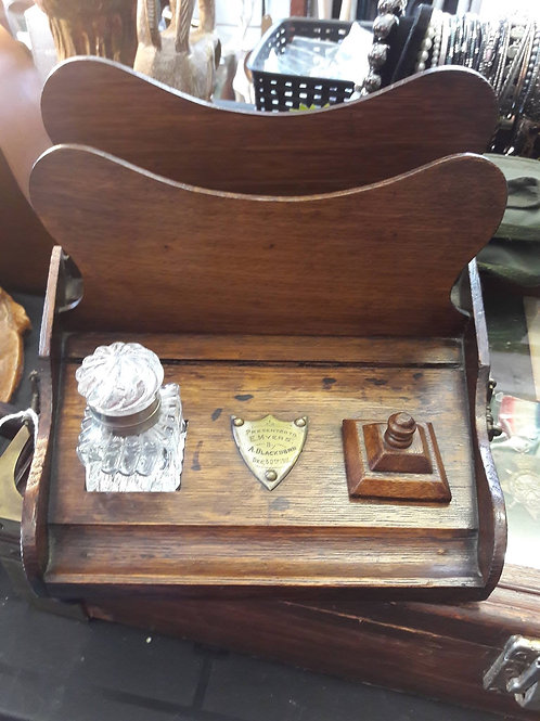 Vintage desk tidy with letter holder and pretty inkwell