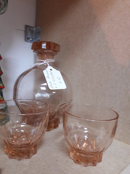 Pink Glass Decanter and Glasses