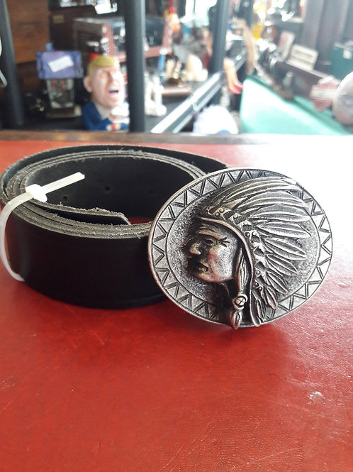 leather belt with solid Indian buckle,
