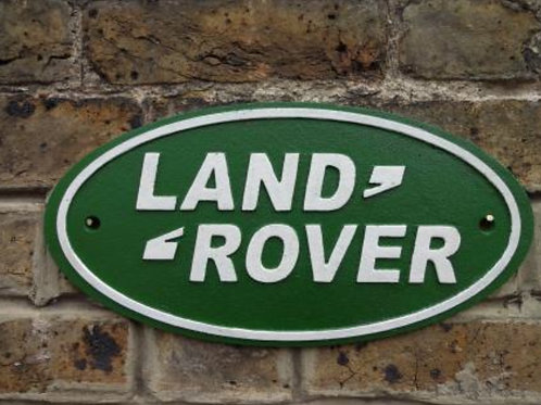 Land Rover cast iron sign