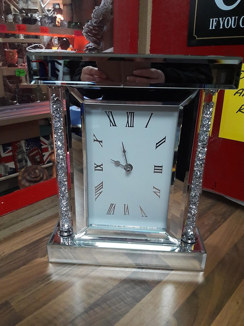 Crystal mirrored mantel clock