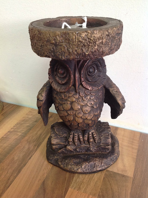 Resin Owl Candle Holder