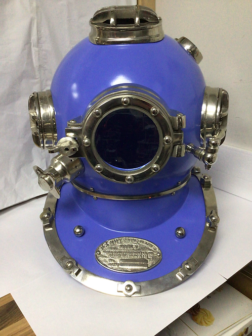 Blue deep sea diving helmet