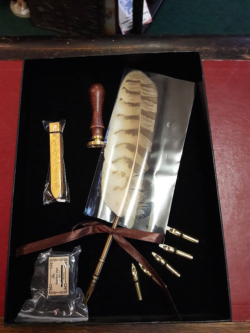 Quill and ink writing set.