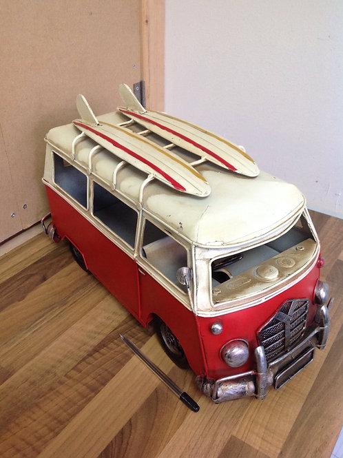 Tin Plate Red VW Campervan