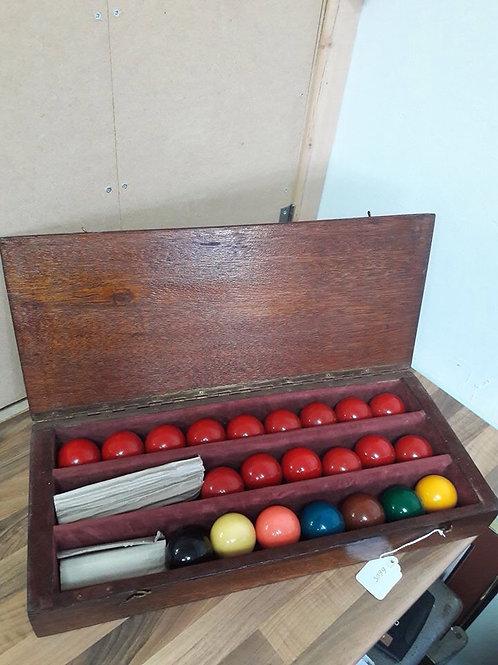 Vintage Billiard Balls in Case