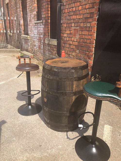 53 gallon refurbished whisky barrel  And two leather Chesterfield style height a