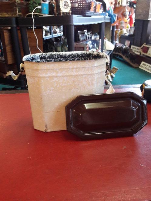 Vintage cream enamel miner's lunch box.