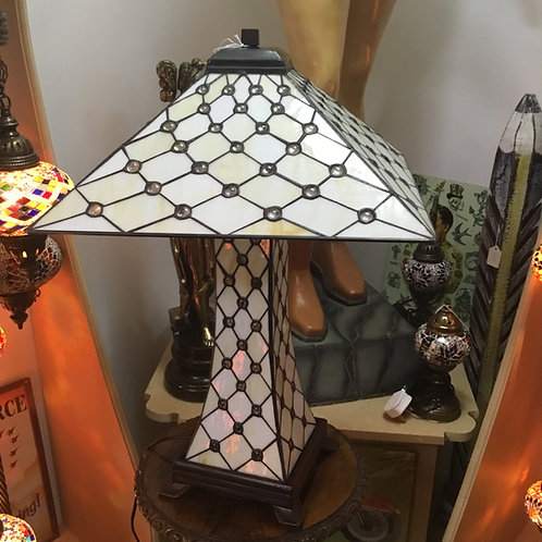 Cream Jewelled Tiffany Pyramid Lamp