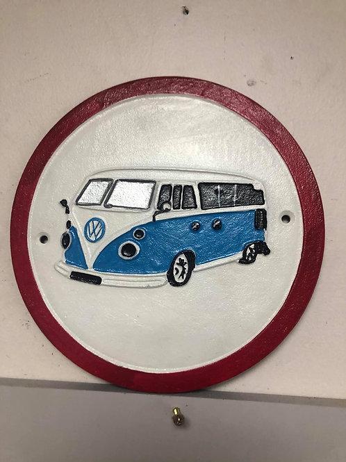 VW camper van cast iron sign