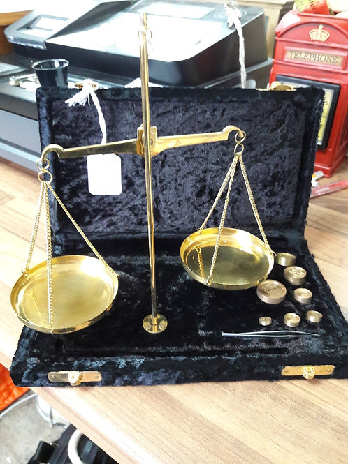 Apothecary Scales with weights and box