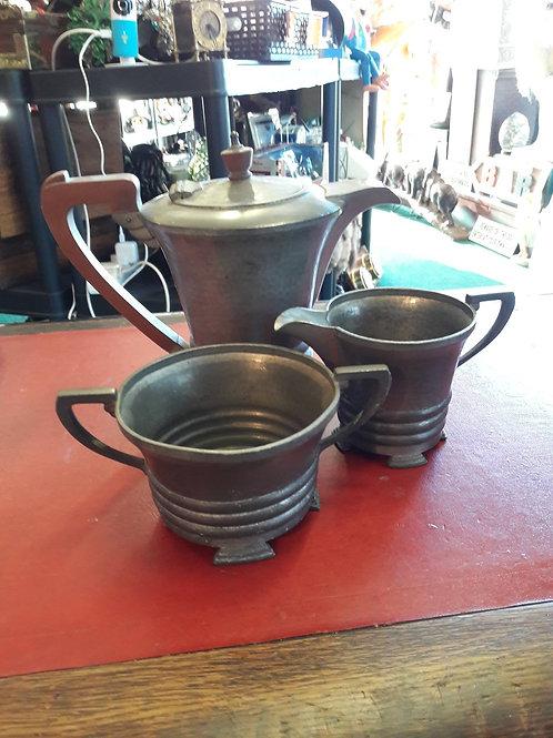 3 piece tea set.  Period Pewter 408.