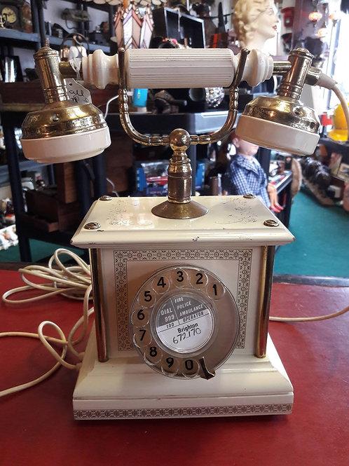 Vintage Cream/brass Rotary Telephone