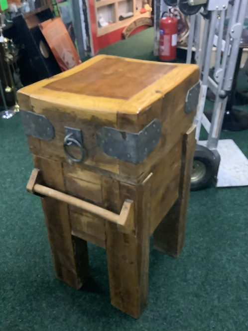 Butchers block on stand