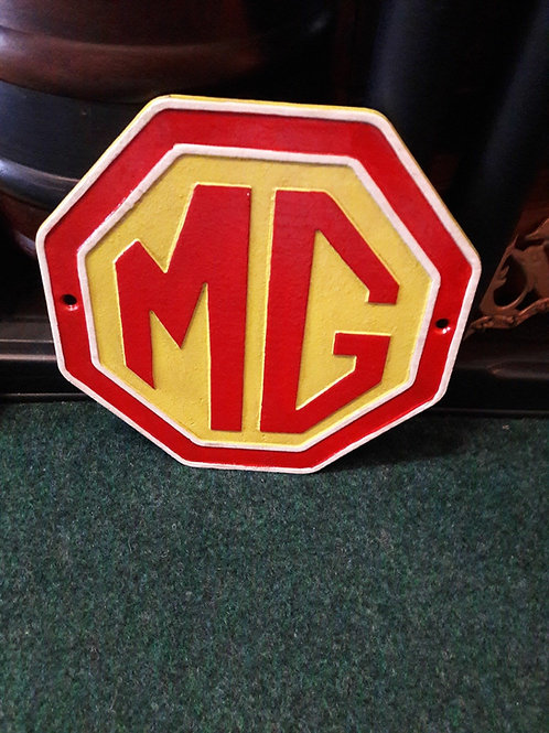 Cast iron MG sign