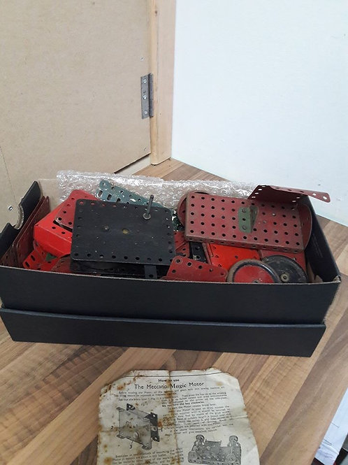 Box of Meccano including 2 Untested Motors
