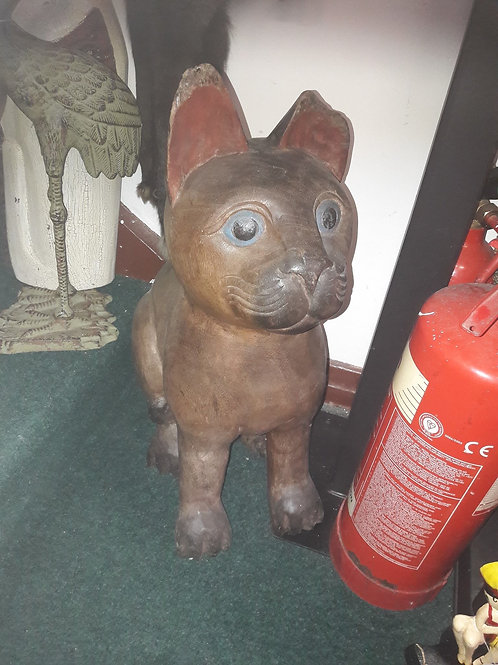Large wooden carved cat