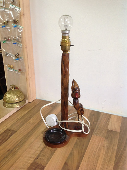 Vintage Novelty Wooden Table Lamp with Bakelite Ashtray