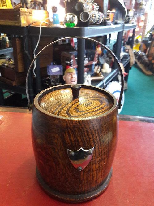 Vintage wooden ice bucket with inner ceramic pot