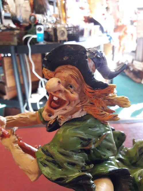 Resin Witch on broomstick.