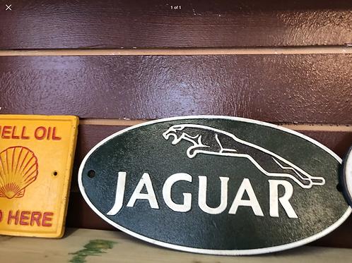 Cast iron oval jaguar sign