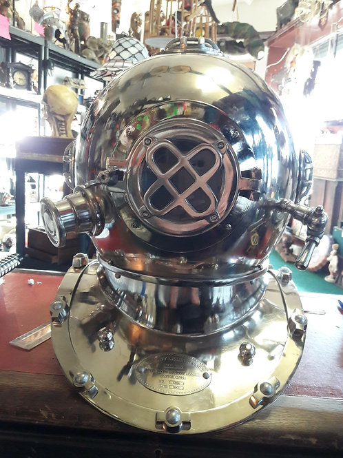 Silver Reproduction Steel Diving Helmet Height  40cm  length  33cm  width  44.5c