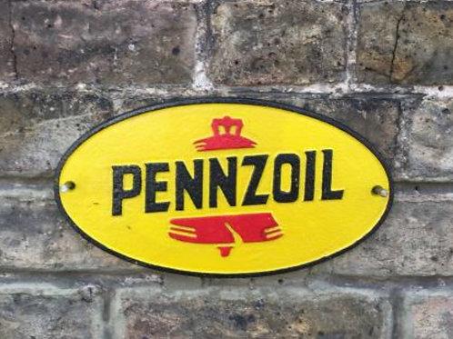 Pennzoil cast iron sign