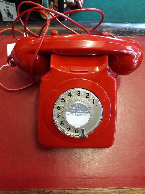 Red Retro Rotary Telephone