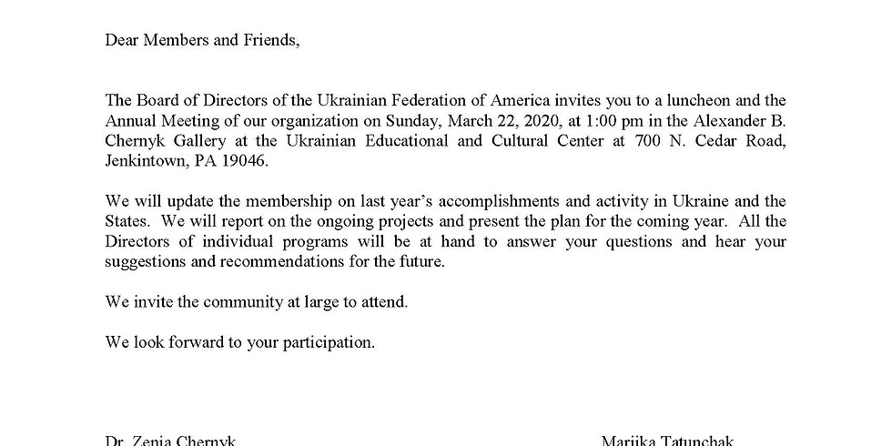 CANCELLED -Annual Meeting of the Ukrainian Federation of America