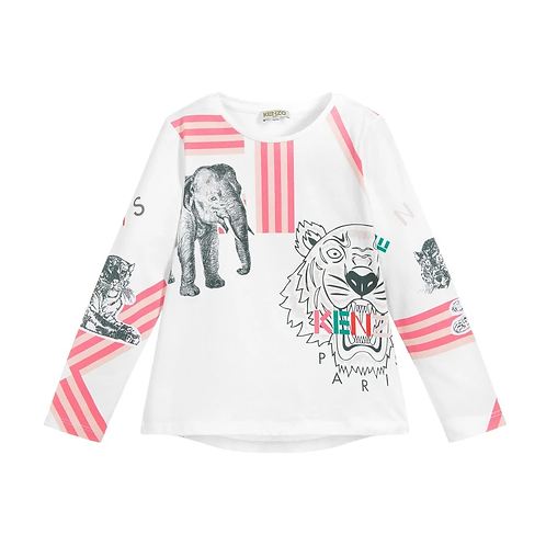 KP10038/01 KENZO KIDS GIRLS LONG SLEEVE TEE-SHIRT