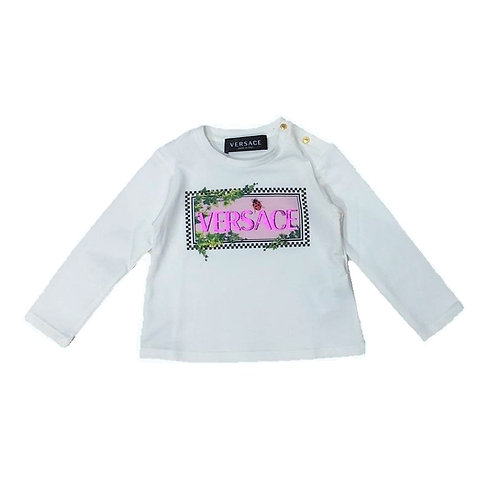 YA000218/A1002 VERSACE BABY GIRLS LONG SLEEVE T-SHIRTS
