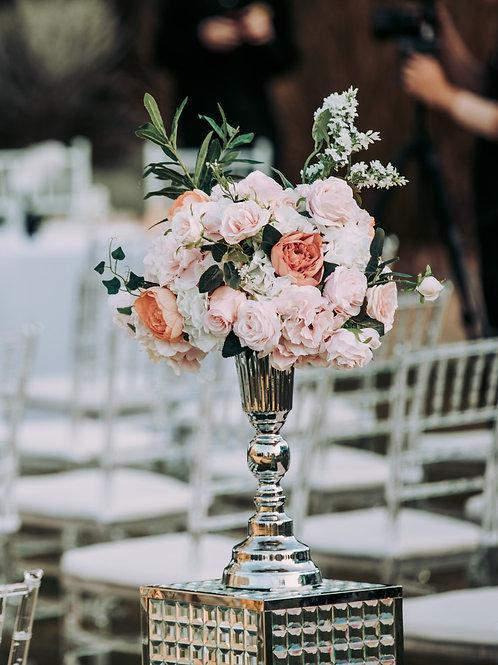 Silver stand centerpiece with silk flower
