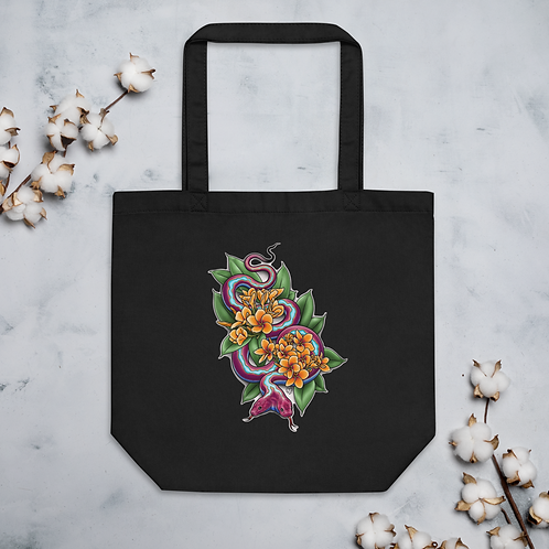 Two Headed Snake with Plumeria Eco Tote Bag