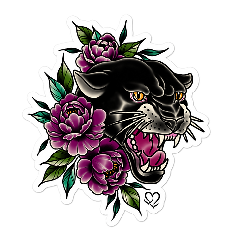 Black Panther with Peonies Sticker