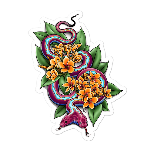 Two Headed Snake with Plumeria Sticker