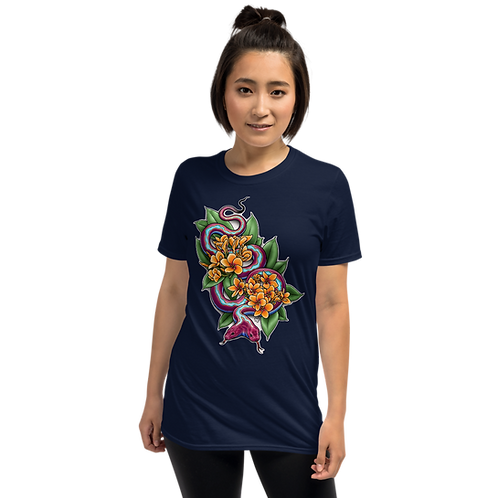 Two Headed Snake with Plumeria Unisex T-Shirt
