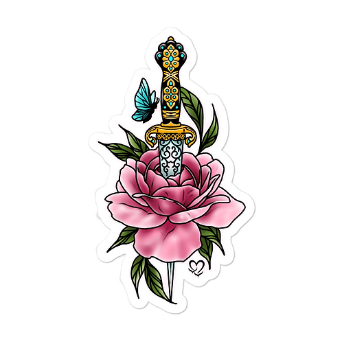 Rose Lady Dagger Sticker