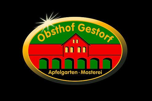 Obsthof Gestorf, Logo, schwarzer Hintergrund mit Logo,