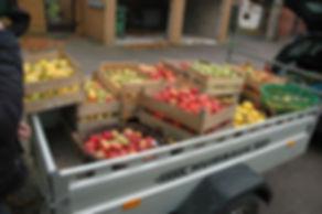 Kunden Äpfel auf Anhänger, Lohnmosten anlieferung, Anhänger, Anlieferung, Obstkisten, Früchte, Kunden, selbst mosten