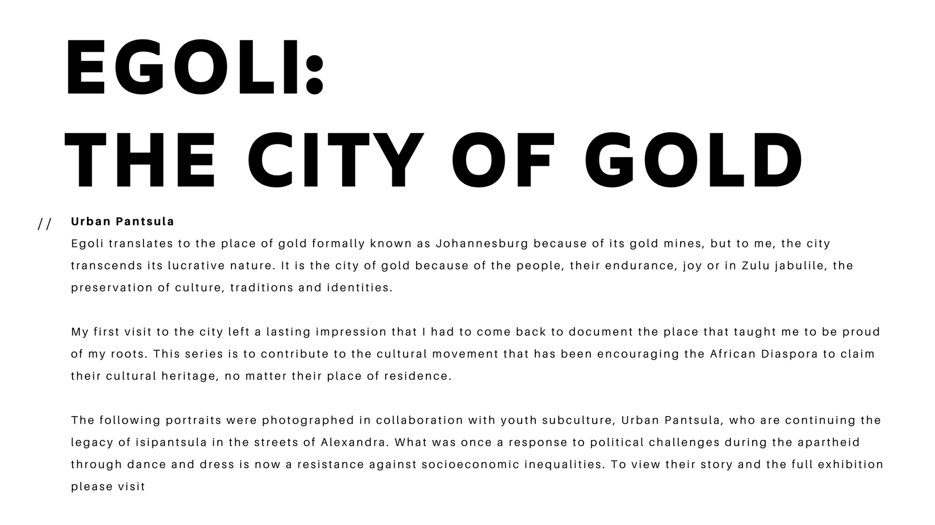 Egoli: The City of Gold