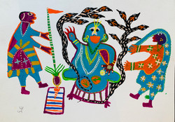 Jadaiya (Arte outsider) Hindu Gods Acril